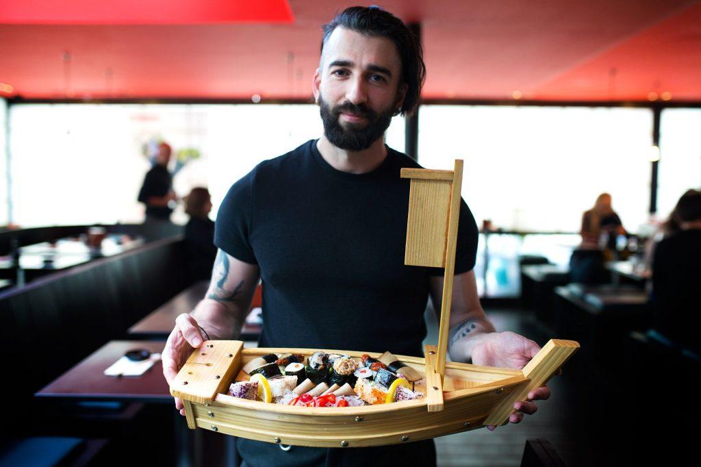 vegan sushi boat
